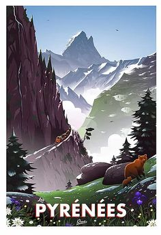 Mountain Pictures, Modern Photographers, Cute Love Cartoons, Mountain Art, Art Et Illustration, Places Of Interest, Modern Retro, Vintage Travel Posters, Travel Inspiration