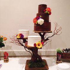 Wedding Cake Trio on a rustic cake stand - love this! ~  we ❤ this! moncheribridals.com