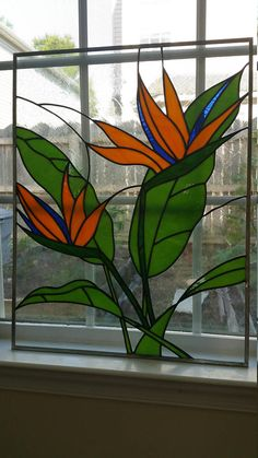 Bird of Paradise Flower Stained Glass Window Panel Custom OOAK