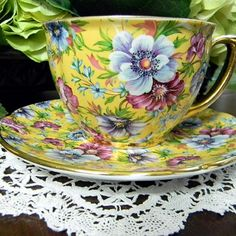 Sophie Chintz Tea Cup and Saucer - James Sadler Cup And Saucer Set, Tea Cup Saucer, Vintage China, Vintage Tea, Vintage Party, Vintage Floral, Café Chocolate, Teapots And Cups, Teacups