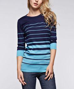 Ruby Rose Navy Stripe Three-Quarter Sleeve Tunic | zulily