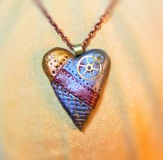 Polymer Clay Steampunk Heart Pendant Necklace - Urban Metallic Texture Necklace - Clockwork Heart necklace