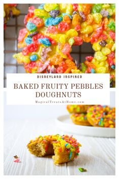 The ultimate breakfast? Cereal topped doughnuts! Our recipe for these Disneyland-inspired Fruity Pebbles Doughnuts from the Jolly Holiday Bakery Cafe are so easy because they're BAKED not fried! So you can have hot, fresh doughnuts in less than an hour topped with sweet and crunchy Fruity Pebbles cereal and a delicious lemon glaze. Hungry? Get the full recipe on our site! // magicaltreatsathome.com #disneyeats #disneycopycatreceipe #disneydoughnuts #bakeddoughnutrecipe #disneyland…