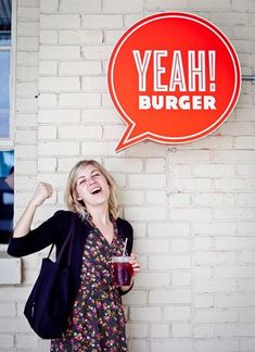 Fun, interactive signage for Yeah! Burger love love,