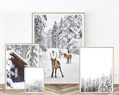 Moose Photography Set of 4 Poster Christmas Winter Art Snowy Forest Set Reindeer Wall Poster Log Cabin Printable Decor Modern Winter Set Art Scandinave, Snowy Forest, Christmas Photography, Winter Art, Poster Wall, Winter Christmas, Printing Services, Printable Art, Decoration
