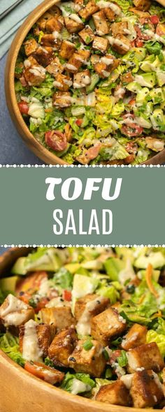 This delicious tofu salad is packed with crispy vegetables and marinated tofu, and it's topped with a creamy tahini dressing. Try this scrumptious recipe for a filling lunch or main dish dinner idea! This salad is so, so good! Vegetarian Recipes Dinner, Delicious Vegan Recipes, Vegan Dinners, Easy Healthy Recipes, Salad Recipes Vegan, Veggie Dinner, Raw Recipes, Veggie Food, Tofu Dishes