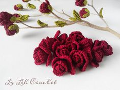 Crochet Flower Applique for home decor, accessories, bags, clutch, hairpin, etc. by LaLehCrochet on Etsy. I've made several home decors using this crocheted rose, including the bouquet. Love the colors! So natural!