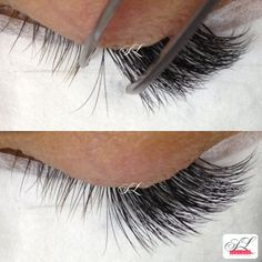 In a process of 3d. 3d fans. 3 ultra light extensions onto one of your natural lash. Russian Volume. www.stylash.ca