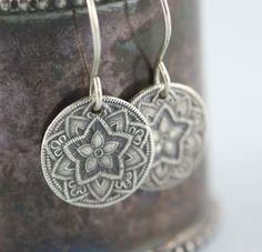 Mandala Star Yoga Earrings - Yoga Jewelry - Recycled Sterling Silver Handmade by gooseberrystudio on Etsy https://www.etsy.com/listing/151639798/mandala-star-yoga-earrings-yoga-jewelry