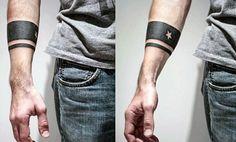 Mens Black Band Negative Space Star Forearm Tattoo