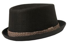 Fore!! Axel & Hudson Black Rafia Pork Pie Hat