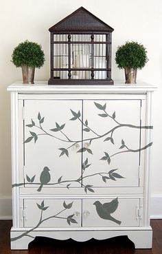 birds painted furniture cabinet