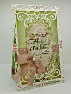 Birthday card, spellbinders (corner flourish, Romantic Rectangles 2, mystical embrace), die-versions (ornamental fence), lovely quietfire stamp