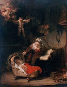Rembrandt Harmensz. van Rijn  - Sagrada Familia con ángeles - 1645