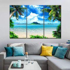 Tropical Master Bedroom, Tropical Bedroom Decor, Tropical Bedrooms, Beach Bedroom Decor, Tropical Decor, Canvas Art Prints, Canvas Wall Art, Modern Tropical, Island