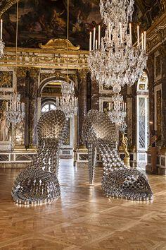 Exposición de Joana Vasconcelos en Versalles.  Marilyn, hecho con cacerolas.