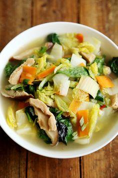 Nappa Cabbage, Soy Chicken and Shiitake Mushroom Soup