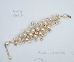 Bridal Bracelet Gold Wedding Bracelets Pearls by adriajewelry