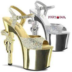 Revolver-709G, 7 inch high heel with 3.25 inch platform Multi Glitter Ankle Strap Sandal with Rhinestones Gun Heel