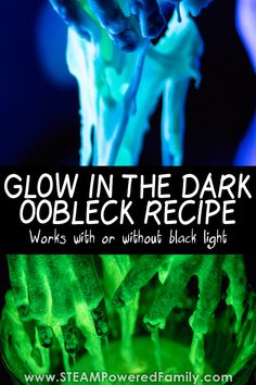 Glow in the Dark Oobleck recipe that works with or without black light. Includes a science lesson in fluid dynamics and how things glow. Mad Science, Science Lessons, Science For Kids, Science Experiments, Science Ideas, Black Light Room, Light In The Dark, Halloween Science, Halloween Kids