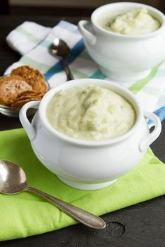 Vegan Cream of Broccoli Soup with cauliflower. I want this. Especially in that nice soup bowl she has there.