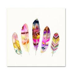 Feather Illustration.  Boho Decor.  Pink Watercolor Wall Art.
