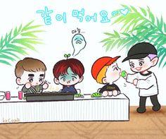 쿠키밥 (@yooocookie)   Twitter Exo Kokobop, Exo 12, Kpop Exo, Baekhyun Fanart, Kpop Fanart, Baekhyun Chanyeol, Exo Cartoon, Exo For Life, Exo Anime
