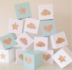 Wooden Shape Play Cubes - Mint and White with Wooden Letters Wood Block Crafts, Wooden Crafts, Wooden Diy, Wooden Baby Blocks, Wooden Letters, Baby Crafts, Diy And Crafts, Baby Building Blocks, Play Cube