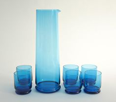 1960s Swedish Modern Turquoise Blue Glass Cocktail set    [Go on, buy it, but only if you will USE it.  it shouldn't just sit on a shelf, looking pretty - but it can do that effortlessly too...]