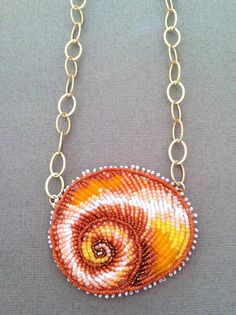 Seed Bead Embroidered Shark Eye Shell Necklace by Epigman on Etsy, $90.00