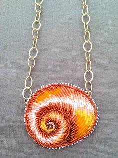 Seed Bead Embroidered Shark Eye Shell Necklace. Eleanorpigman.blogspot.com