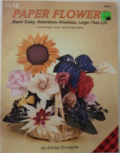 Vintage Craft Book - Plaid Paper Flowers by Marion Brizendine - Features Paper Capers Twisted Paper Ribbon