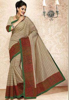 Cream Colored Bengal Cotton Handloom Saree