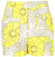 Short taille haute à fleurs jaune te ecru, TopShop