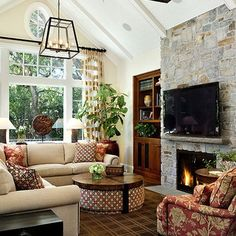 Family Room Design, Pictures, Remodel, Decor and Ideas - sectional with round coffee table