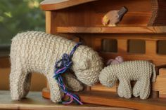 Waldorf 1st grade handwork : K's big lamb with one of my first lambs by Frontier Dreams, via Flickr