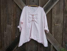 linen top blouse with roses in light pink ready by linenclothing