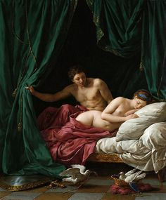 Louis Jean François Lagrenée-Mars and Venus, Allegory of Peace,1770. Oil on canvas  Mars, the Roman god of War, throws back the rich green bed curtains that frame the scene. As the drapery parts, the morning light spills in to reveal the form of the sleeping Venus, the Roman goddess of love. Mars gazes at her, utterly captivated by her beauty. his shield and sword lie abandoned on the floor. Echoing the lovers' bliss, a pair of white doves, symbolizing Peace, nest in Mars's helmet.