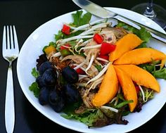 Asian Chicken Salad, an easy salad supper for summer. For low card, skip the fruit. Recipe, tips, nutrition, Weight Watchers PointsPlus 8 @ KitchenParade.com.