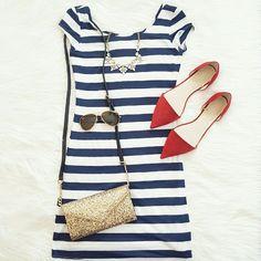 Stripe Scoop Back Dress