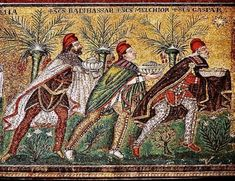 Three Magi in appropriate Mithraic garb. Basilica of Sant'Apollinare Nuovo in Ravenna, Italy: The Three Wise Men. One day I will see Ravenna. We Three Kings, Kings Day, Ravenna Italia, Culte De Mithra, Bonnet Phrygien, Ravenna Mosaics, Empire Romain, Fine Art, Angels