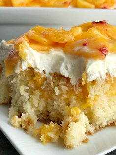 Peaches and Cream Poke Cake Poke Cake Recipe Cake Dessert If you love poke cakes then you must try this peaches and cream poke cake French vanilla cake soaked in fres. Peach Cake Recipes, Poke Cake Recipes, Pear Recipes, Dessert Recipes, Drink Recipes, Poke Recipe, Baking Desserts, Delicious Desserts, Healthy Recipes