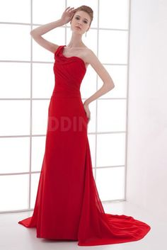 One-shoulder Unique Red Evening Dresses - Order Link: http://www.theweddingdresses.com/one-shoulder-unique-red-evening-dresses-twdn4393.html - Embellishments: Beading; Length: Floor Length; Fabric: Chiffon; Waist: Natural - Price: 163.5926USD