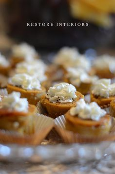 IN A PINCH -store bought pumpkin pie and cookie cutters in fluted cupcake wrappers and a dollop of whipped cream
