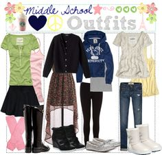 """""""Middle School Outfits"""" by just-girly-tips ❤ liked on Polyvore"""