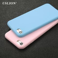 USLION Phone Cases For iPhone 7 6 6s Plus 5 5s SE Fashion Simple Solid Color Case Back Cover Soft TPU Silicon Capa Coque