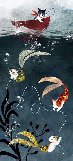 Cat mermaids