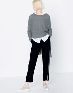 :LONG UNEVEN SWEATER