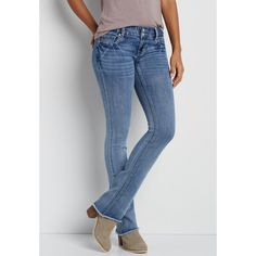 maurices Denimflex™ Slim Boot Jeans With Frayed Bottom Hem, Women's, ($39) ❤ liked on Polyvore featuring jeans, whiskered jeans, maurices jeans, maurices, slim cut jeans and frayed jeans
