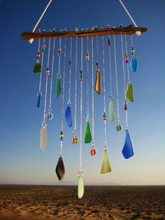 Beach Glass Windchime  With Wire Wrapped Glass Marbles by mexicobeachgirl, $59.00